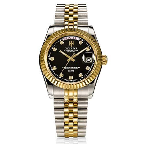 - Diamond Bangle Bracelet Holuns Men Watches Luxury Top Brand Gold Diamond Role Quartz Stainless Steel Calendar Relogio Masculino Wrist Watch Clock