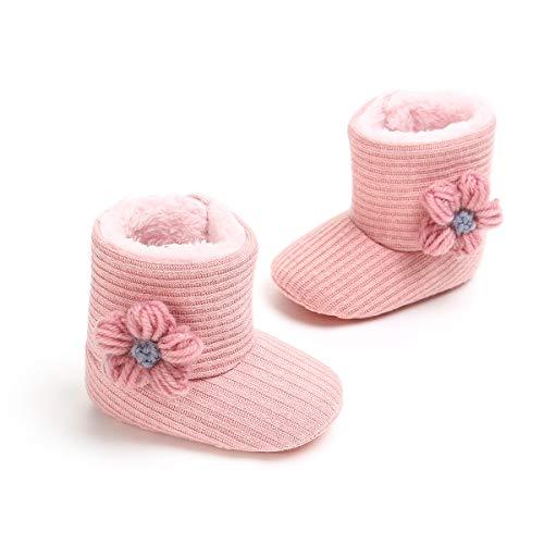 De 12 Botas Punto 6 Zapatos Rosado Meses Invierno 12 zapatos Bebé Bebé Algodón 18 0 6 Cálido Auxma Flores Para ad1w1Aq