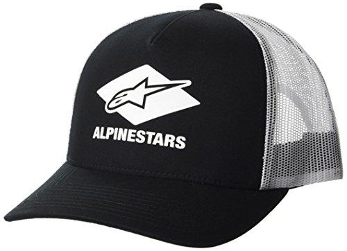 (Alpinestars Men's Curved Bill Trucker Snap Back HD Logo Print Flexfit Hat, Diamond Black OS)
