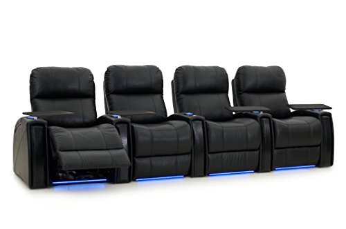 Cheap Octane Seating Nitro XL750 Black Leather – Power Recline – Arm Storage – Lighted Cup Holders – Straight Row 4 – Memory Foam