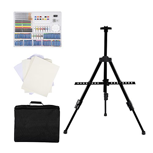 CONDA Complete Art Set with Carrying Case and Easel 103 Piece Acrylic Easel Painting Supply With Black Carry Case A191237 by CONDA