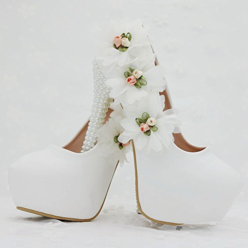 Flowers white Shoes White high Elegant Thin Heels Pearl Wedding Heels Women's high LEIT Shoes 8 Shoes cm Wedding 1qxCfXwp
