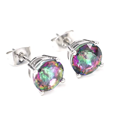 FC JORY White Gold GP round Crystal Cubic Zirconia Mystic Rainbow Topaz Earrings Studs