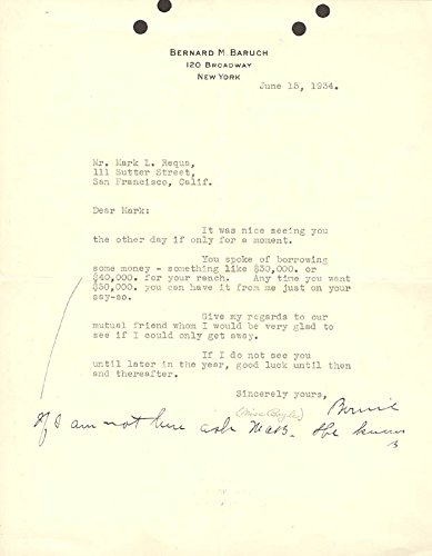 Bernard M. Baruch Annotated Typed Letter Twice Signed 06/15/1934