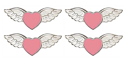 Pink Heart Silver Angel Wings Love Pins (Pkg of 4) - Breast Cancer Pink Awareness -