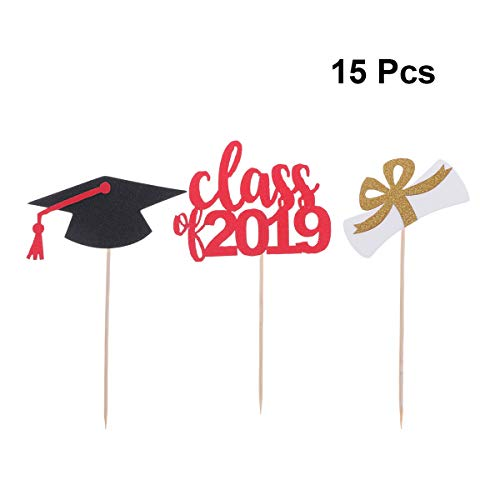 Amosfun Graduation Cake Topper Picks Class of 2019 Cupcake Picks Graduation Hat with Red Tassel Diplom for Graduation Party Decoration College Graduate Cupcake Topper 15PCS -