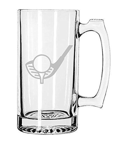 Sports Beer Mug Etched Handmade Golf 25 oz