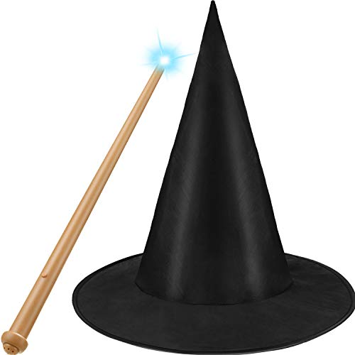 Witch Wands For Halloween (Black Witch Hat Wizard Hat and Light-up Toy Wand for Wizard Costume Accessories Halloween)
