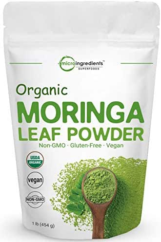 Organic Moringa Powder (Moringa Oleifera), 1 Pound (16 Ounce), Rich in Natural Antioxidants, Multi-Vitamins and Minerals for Green Drinks, Smoothie and Cookie, No GMOs, Sun Dried and Vegan Friendly