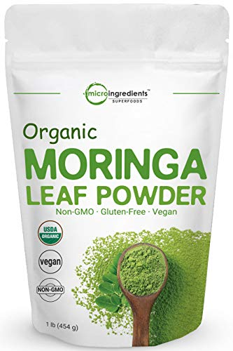 Organic Moringa Powder (Moringa Oleifera), 1 Pound, Rich in Natural Antioxidants, Multi-Vitamins and Minerals for Green Drinks, Smoothie and Cookie, No GMOs, Sun Dried and Vegan Friendly