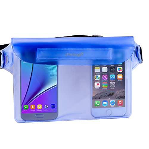 Waterproof Case, Waterproof Pouch, iThrough Ultra Universal Waterproof Pouch with Waist Strap for Beach/Fishing/Hiking, Perfect Protection for Phone, Camera, Cash, Documents From Water, Sand, Dust and Dirt