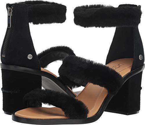 UGG Women's W DEL Rey Fluff Heel Heeled Sandal, Black, 7.5 M US