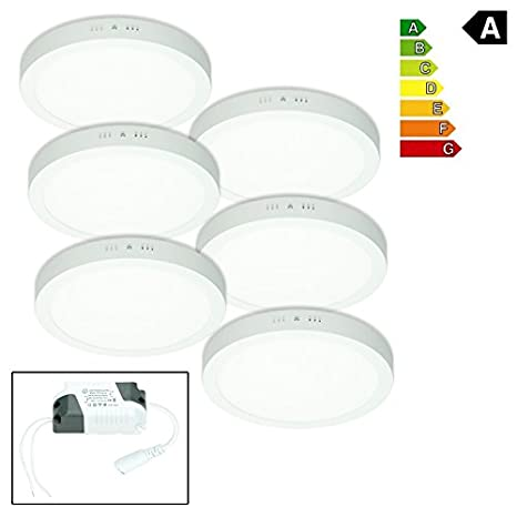 ECD Germany 6 x LED Ceiling Panel 24W 120xLED SMD 2835 AC 220-240V Square 300x300mm Neutral White 4000K 1814 Lumen Spotlight