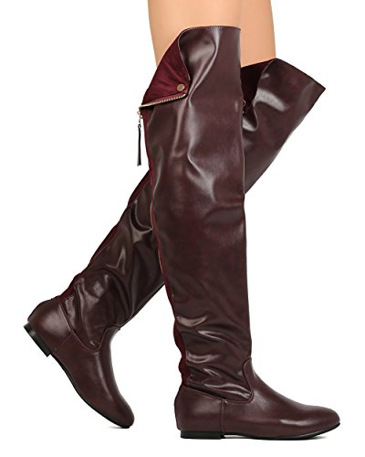 Women Over The Knee Flat Boots Snap Cuff Back Zipper Fashion Long Boots Wine 7.5