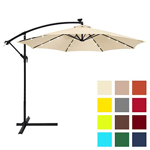 Best Choice Products 10ft Solar LED Patio Offset Umbrella w/Easy Tilt Adjustment - Light Beige by Best Choice Products