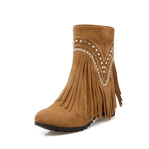 Yellow Closed Round High Toe Heels AmoonyFashion Pull On Fringed Women's Frosted Boots PXwn7nFqI