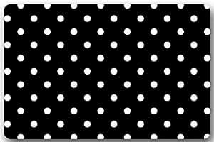 """Negro y Blanco Dot antideslizante para interiores/al aire libre Felpudo (Felpudo decoración para el hogar Rectángulo–23.6""""(L) X 15,7(W), 3/16"""" de grosor"""