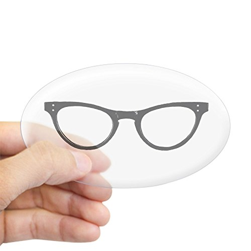 CafePress Librarian Glasses Sticker (Oval) Oval Bumper Sticker, Euro Oval Car Decal]()