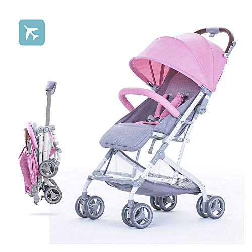 2019 Baby Stroller,Lightweight Compact Travel Stroller – One Hand Fold,Umbrella Stroller,Linen Fabric,Full Recline Up 170° – Baby Can Sit Or Lie Down, Pull Handle, Can Take It On The Airplane (Pink)
