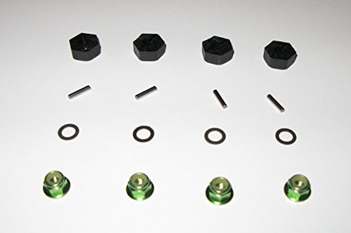 Traxxas 12MM Wheel Hexs, Teflon Washers, Axle Pins and Green Flanged Wheel Nuts - Complete Set of 4 - Slash 4x4 Stampede 4x4 Telluride 4x4 Rally 4x4 Nitro 4-Tec