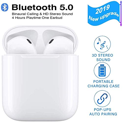 Wireless Earbuds Bluetooth Headphones 5.0 Stereo Hi-Fi Sound with Deep Bass Wireless Earphones Built-in Mic Headset, 33Hours Playtime, in-Ear Bluetooth Earphones with Charging Case