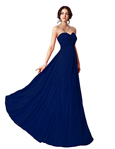 Ball Evening Party Prom Clearbridal Formal Blue Women's Gowns Bridesmaid Dresses Sweetheart Royal Long CSD182 Chffion XtqtIvxT