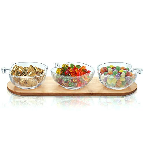 Small Side Dish Bowls Set 4oz, 3 Apple Shaped Clear Glass Bowls on Bamboo Tray for Serving Snacks, Appetizers, Candy, Nuts and Dips