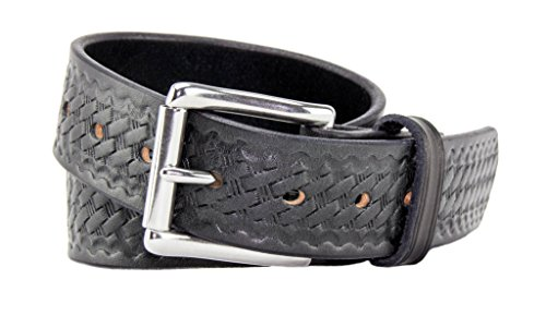 (Relentless Tactical The Ultimate Concealed Carry CCW Leather Gun Belt - Basket Weave Pattern -1 1/2 inch Premium Full Grain Leather Belt - Handmade in The USA! Black Size 40)