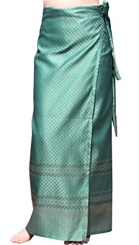 RaanPahMuang Brand Full Star Line Motif Thailand Silk Wrap Skirt Thai Formal Sarong, Medium, Jungle Green