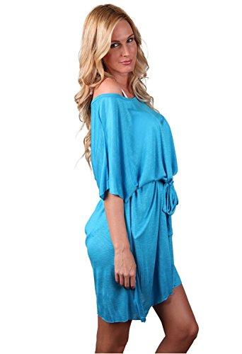 Ingear Belted–Chaqueta vestido verano playa encubrir fabricado en EE. UU. Azul