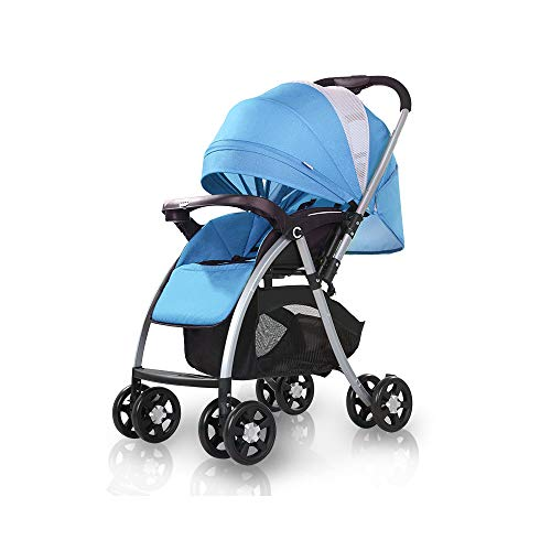 2019 Baby Stroller,Lightweight Compact Travel Stroller – One Hand Fold,Umbrella Stroller,can be Reversed,Full Recline Up 175° (Sky Blue)