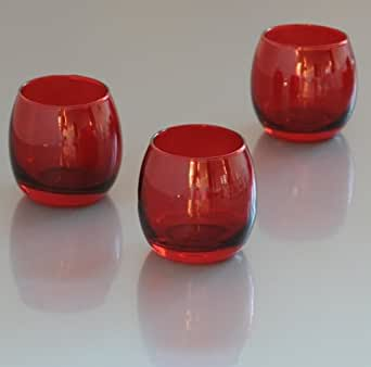 candles4less red glass optic votive candle holder 1 dozen home improvement. Black Bedroom Furniture Sets. Home Design Ideas