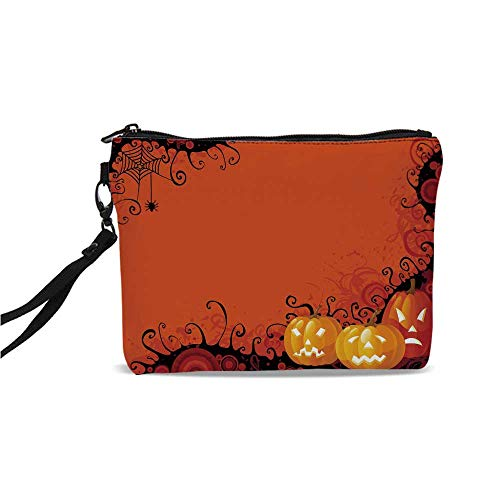 Spider Web Simple Cosmetic Bag,Three Halloween Pumpkins Abstract Black Web Pattern Trick or Treat Decorative for Women,9