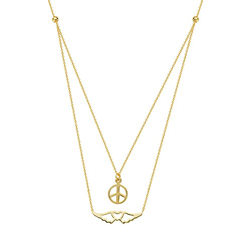 Necklace Peace Heart Sign (14k Yellow Gold Peace Sign and Heart with Wings Necklace - Layered Duos)