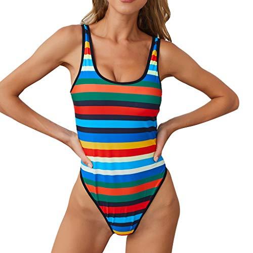 - XUEJIN Colorful Stripe One-Piece Swimsuit Beach Swimwear Bathing Suit Women's Summer Swimsuit Sequin Inspired Design Green