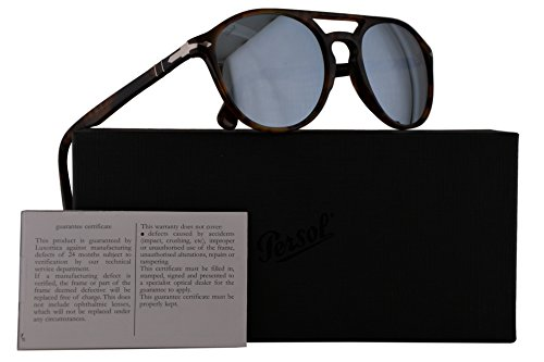Persol PO3170S Sunglasses Havana w/Light Green Mirror Silver Lens 52mm 901630 PO 3170-S PO3170-S PO - Sunglasses Cheap Persol