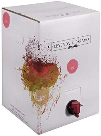 Bag in Box 15L Vino Rosado Recomendado - Leyenda del Páramo - (Equivalente a 20 Botellas de 750 ml) - Caja de vino Rosado - Con grifo para servirlo cómodamente
