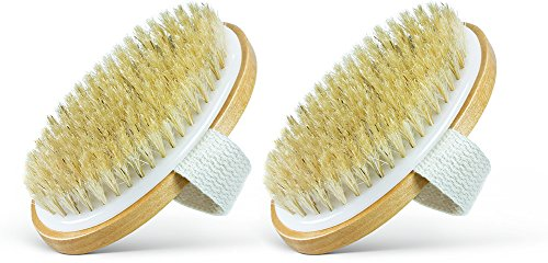 Dry Body Brush - 100% Natural Bristles - Cellulite Treatment, Increase Circulation and Tighten Skin. (Pack of 2)