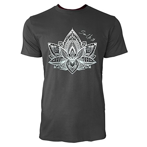 SINUS ART ® Lotusblüte mit Paisley Ornamenten Herren T-Shirts in Smoke Fun Shirt mit tollen Aufdruck