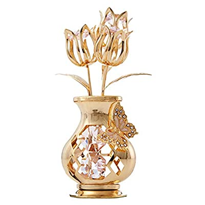 Matashi MCT3165P 24K Gold Plated Studded Flower Ornament in a Vase with Decorative Butterfly (Pink Crystals) - EYE-CATCHING DESIGN: 3 gold tulips reach towards the sun from within a curvy vase with butterfly. DIMENSIONS: 1.0 (L) x 4.0 (H) x 1.5 (W) Inches. Ensures it is the perfect for any interior design. ELEGANT PACKAGING: Comes secured in a velvet pouch within a luxury gift ready box. - vases, kitchen-dining-room-decor, kitchen-dining-room - 41uZEsu X9L. SS400  -