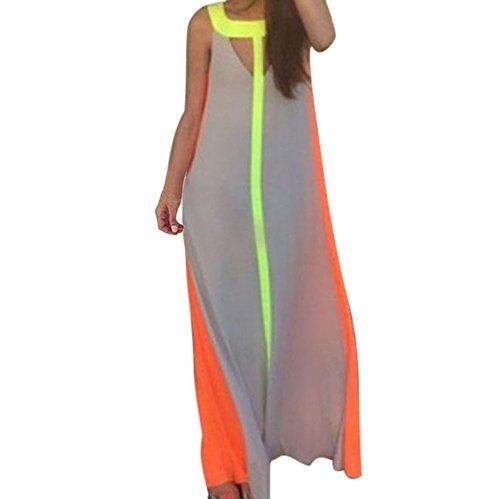 Long Dress, Howstar Women Maxi Sleeveless Multi-Color Summer Beach Stitching Dress