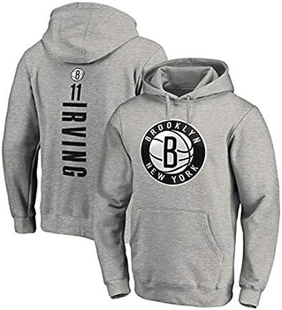 LMSNB Sudadera con capucha Brooklyn Nets #11 para hombres Baloncesto Kyrie Irving Sudadera con capucha Street Retro Camisa de moda Chaqueta Casual Entrenamiento Sudadera - Negro