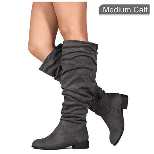 Pull High Knee (RF ROOM OF FASHION Women's Slouchy Pull On Low Block Heel Knee High Boots (Medium Calf) Grey SU (6.5))
