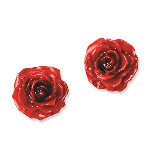 - Lacquer Dipped Red Rose Post Earrings in Gift Box