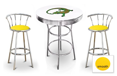 The Furniture Cove New 3 Piece Iguana Reptile Themed Chrome Metal Bar Table Set with White Table Top and 2 Bar Stools with Your Choice Of Seat Cushion Vinyl Color.
