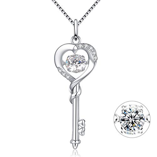 MABELLA Dancing CZ Key to Heart Sterling Silver Key Pendant Necklace, for Women