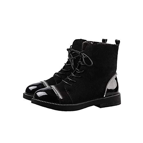 Zapatos Botines Eu Clásicos Ymfie Con Moda Cortas Botas Cordones De Gamuza 35 37 Mujer wwqaBYS