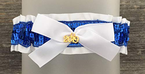 White Royal Blue Prom Garter - White Blue Wedding Bridal Garter - Gold 2019 Charm Prom Garters - Blue Sequin
