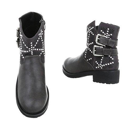 Cowboy Blockabsatz Damen bei Design Grey Biker Stiefel Stiefeletten Ital q5wwna4Ex