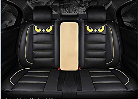 PTOWL Cartoon Full Set Universal Fit 5 Seats Car Surrounded Waterproof Leather Car Seat Covers Protector Adjustable Removable Auto Seat Cushions RED